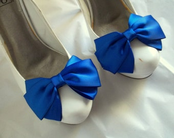 Bridal Shoe Clips, Wedding Shoe Clips, CHOOSE YOUR COLOR, Clips for Bridal Shoes, Satin Bow Shoe Clips, by Designer Shoe Clips Only