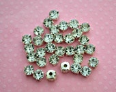 6mm Sew On Rhinestones. 6mm Glass Buttons. 30 Pieces.