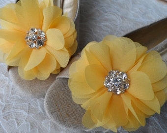 Yellow Flower Shoe Clips / Hair Clips / Wedding Accessories /  Hair Accessories /Set of 2.