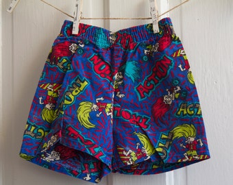 Trolls childrens shorts - Troll figures neon hair - vintage kids clothes - Sz 4