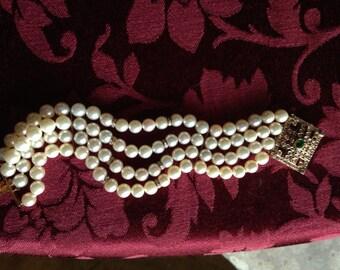 RESERVED 4 ANN.  Superb Estate Pearl, Diamond, and Emerald 14K Bracelet