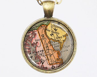 Delaware Map Necklace - Vintage Map of the State of Delaware -Vintage Map Series