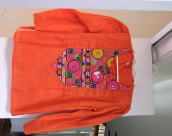 Vintage Embroidered w mirrors Orange Indian Blouse ala 1970s 1980s