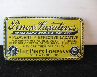 Vintage Pinex Laxatives Tin