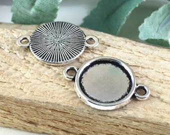 Cabochon Settings -30pcs Antique Silver Round Cameo Cabochon Base Charm Pendant 14mm 2 Loops M101-2