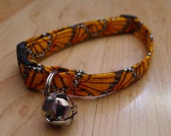 CAT COLLAR orange monarch butterfly break away with bell