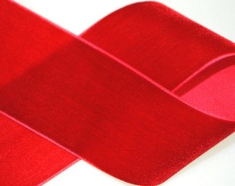 Red Velvet Trim 1.5 inches wide - 2 Yards