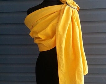 Yellow Linen Cotton Ring Sling, Handmade, Gathered Shoulder, SALE