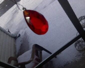Large Vintage Red Crystal Chandelier Teardrop Bead Fixing