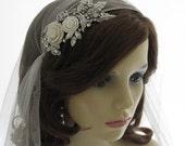 Vintage style veil -  couture bridal cap veil -1920s wedding  veil - Sumptuous