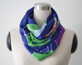 Large square silk scarf in royal blue with multicolor girl with rainbow hearts. Mothers day, womens day, Gift for her. Wearable art scarves