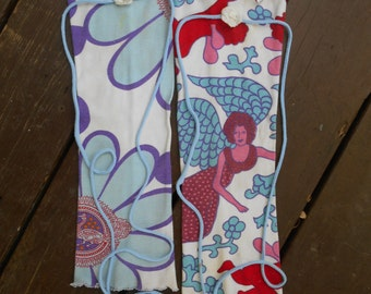 Upcycled leg warmers, Mori accessories, Surfer accessories, Boot warmers. Fairy leg warmers