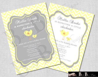 Chick Baby Shower- Gender Neutral, Invitation- (gray, yellow)