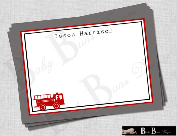Fire Truck Birthday Party- Thank You Note- PRINTABLE (red, gray, blue)