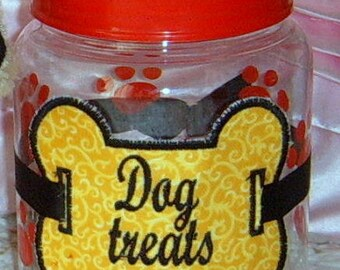 40% Off, Applique, Dog, Dog Treats, Container, Dog Supplies,  Treat Canister, Handmade, Christmas gift