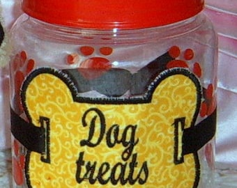 Applique, Dog, Dog Treats, Container, Dog Supplies,  Treat Canister, Handmade, Christmas gift