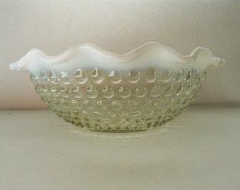Vintage Moonstone Opalescent Hobnail Bowl