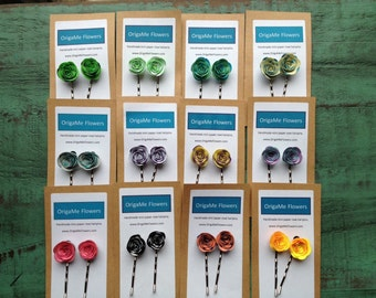 Custom color paper rose bobby hair pins - Choose your own colors