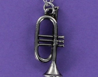 TRUMPET Necklace - Large Pewter Charm on a FREE Plated Chain