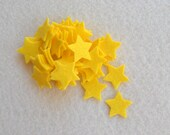 "50 Piece 3/4"" Die Cut WOOL Blend Felt Stars, Yellow"