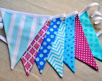 Frozen inspired colors fabric pennant bunting banner, Winter Wonderland birthday party decor ONEderland flag garland cake smash photo prop
