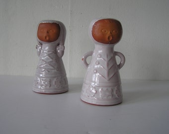 Pair of Swedish Style Boy and Girl Earthenware Pottery Candleholders