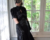 Old Hollywood Rhinestone Studded own/Vintage 1930s/Bias Cut Evening Gown/Black Rayon Party Dress/Size Medium