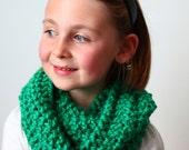 SALE ready to ship~Childs Knit Infinity/ Cowl Scarf, emerald jewel green soft vegan acrylic yarn