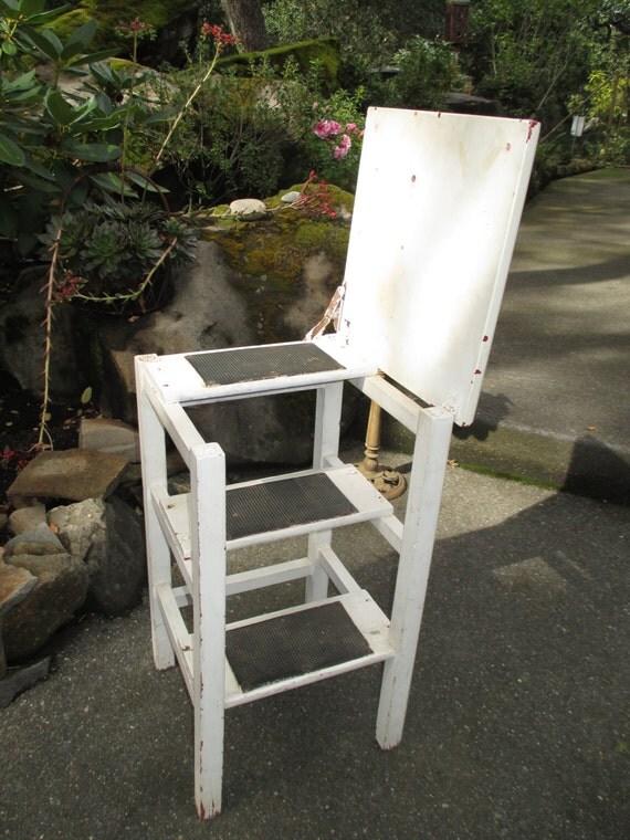 Vintage 2 In One Stool Step Stool Step Ladder