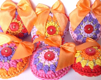Set of 6 Crocheted Christmas ornaments  bright colours 1001 night
