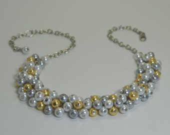 White,Gray and Yellow Cluster Necklace, Pearl Cluster, Bridal Jewelry, Chunky Necklace, Gray and Yellow Wedding Combo, Gray Pearl Necklace.