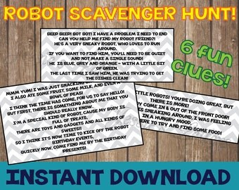 Robot Birthday Party Scavenger Hunt Clues and FREE robot printables