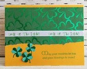 Luck of the Irish Greeting Card, St. Patrick's Day, Handmade Notecard with Irish Blessings and Shamrocks, May Your Troubles Be Less