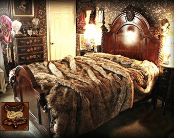 Faux Wolf Fur Bed Spread - Comforter - Golden Wolf  - Coyote Fur - Throw Blanket - Pillow Shams Sold Separately - All New Sizes