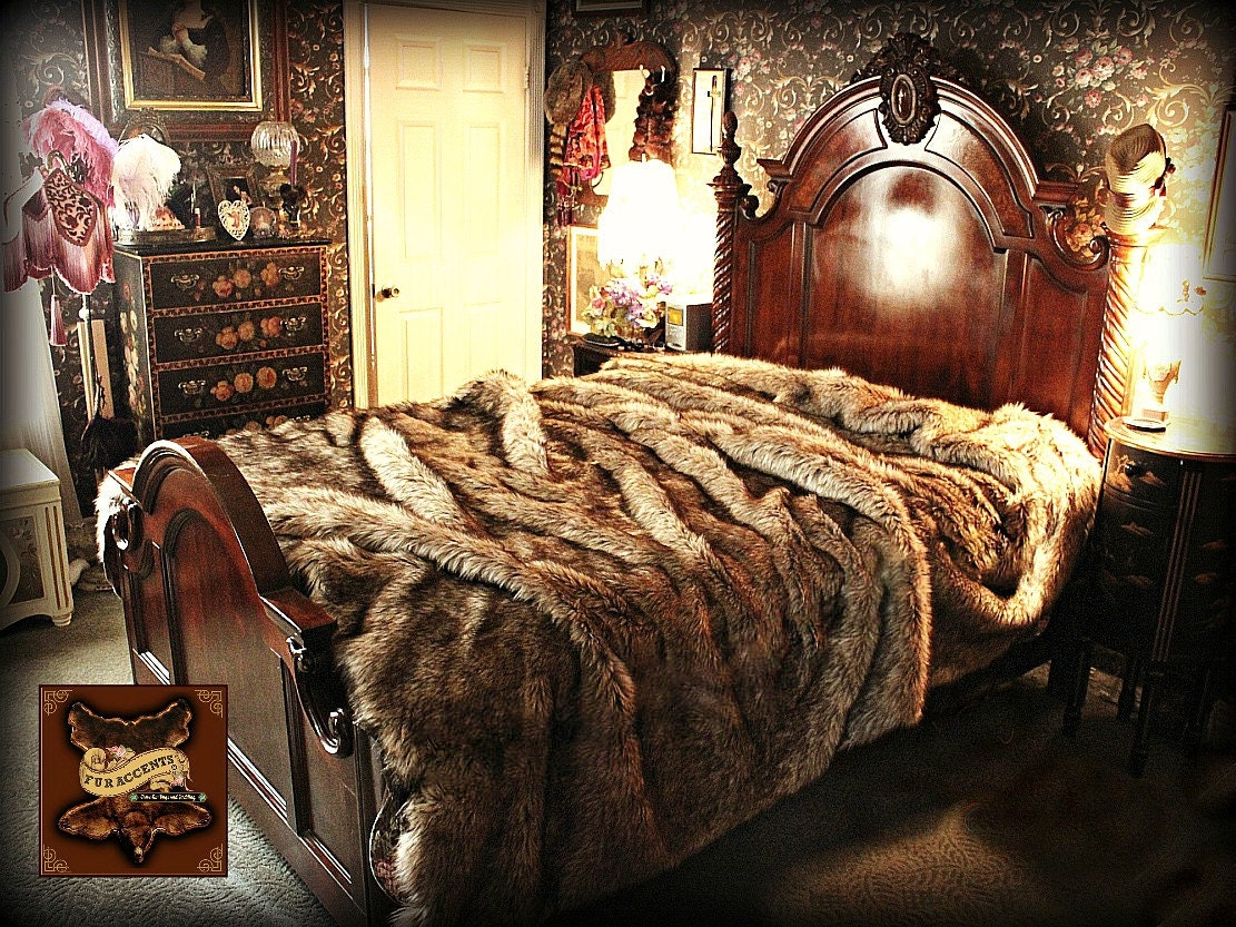faux fur blanket king faux wolf fur bed spread comforter golden wolf coyote 7181