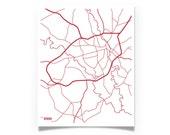 Graduation Gift - Athens Georgia City Map - Modern Print Gift - UGA Bulldogs Wall Art