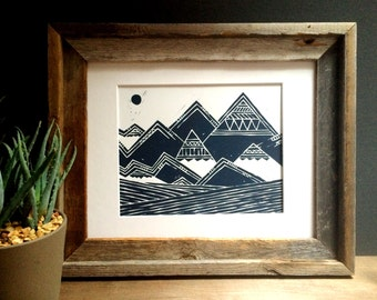 Linocut Print - Nature Inspired - Abstract Tribal Mountains Illustration 8 x 10 Block Print - 1-3004