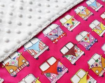 Baby Girl VW Baby Blanket - Girls VW Volkswagen Bus blanket