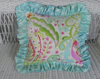 Ruffled Accent Pillow - Kumari Garden Fabric - Large, Small, or Set - Throw Pillow - Choose your Fabrics - MADE TO ORDER