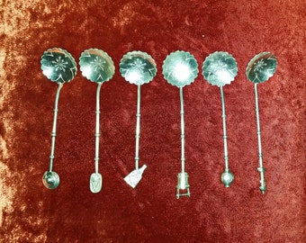 Six Fine Japanese Antique STERLING SILVER 950 master salt or Demitasse Spoons.