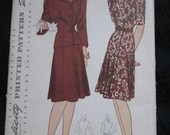 Sale for July----1940's Ladies SIMPLICITY Dress and Jacket PATTERN