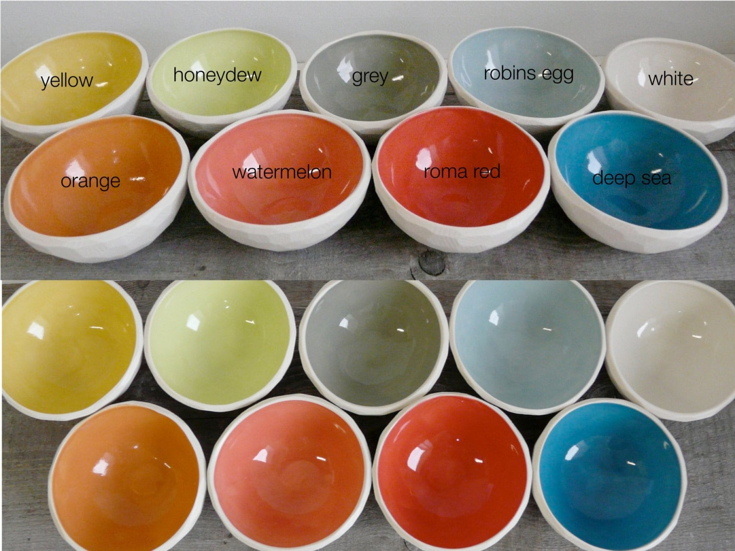 Geometric Cereal Bowl, Size small, Faceted Edge, 9 color options available