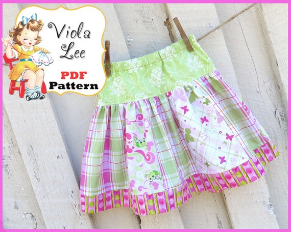 Sara.......Girl's Skirt Pattern, Strip Skirt Pattern, Toddler Skirt Pattern. INSTANT DOWNLOAD. Girl's Sewing Patterns. Size 6mo to girl's 10