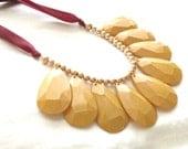 Florida State, Florida State! Garnet and Gold Teardrop Single Strand Necklace, Bib Statement Necklace