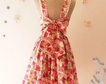 2015 CLEARANCE SALE--Fairy Wings Floral Summer Dress Vintage Style Backless Bow Dress Floral Bridesmaid Dress-Size S,M,L