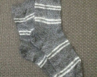 Eco Friendly Hand Knitted Soft Gray Socks