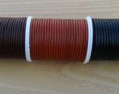 100% Genuine 1mm Round Leather Thong cord Black Brown Dark Brown X 5 Mtr