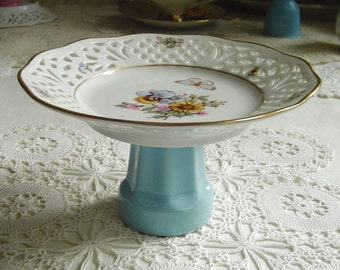 PANSY, ASTER, BUTTERFLY Pedestal Cake Stand - Cup Cake - Soap Dish - 1980s Vintage - Reticulated - Carl Schumann - Arzberg, Bavaria, Germany