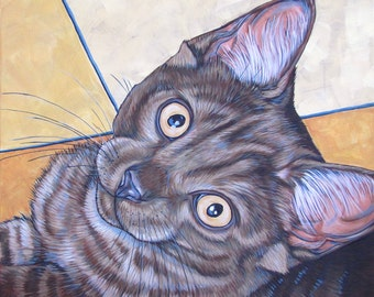 """20"""" x 20"""" Custom Pet Portrait Painting in Acrylic on Canvas of One Dog, Cat, Horse or Other Animal"""