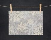 Snowflakes - Hand Printed - Linocut